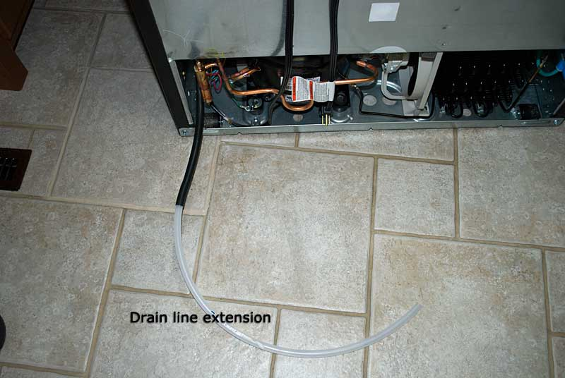 Defrost drain line from the new fridge