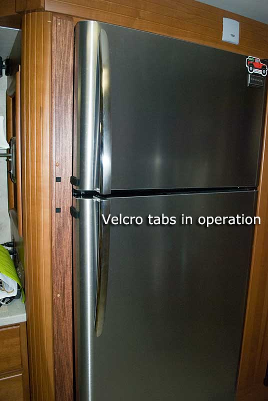 Velcro tabs in use